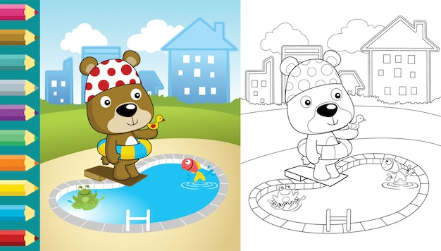 Cartoon of bear in the swimming pool on building background