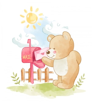 Cartoon bear with love letter illustration