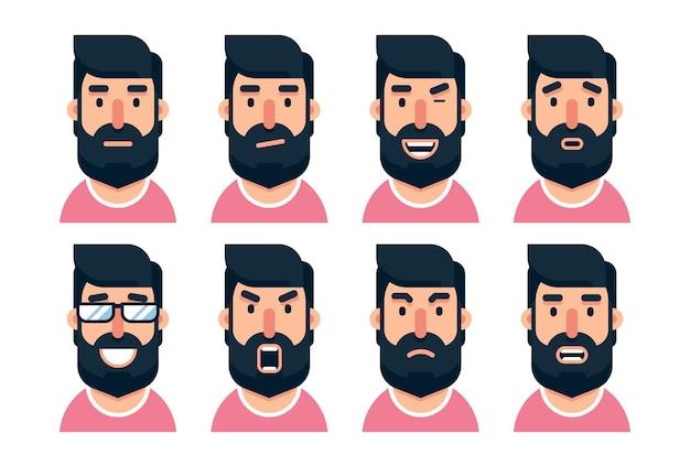 다양한 표정으로 수염 난 남자 캐릭터 만화