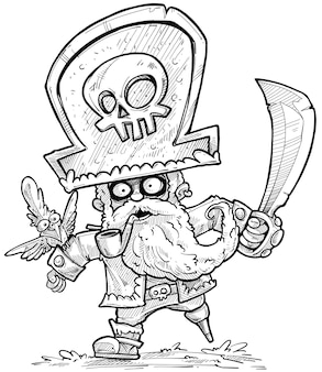 Cartoon bearded pirate in big hat with parrot, sword and tobacco pipe. vector black and white sketch.