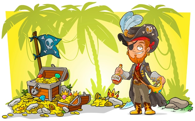 Cartoon bearded pirate with rum and treasure chest
