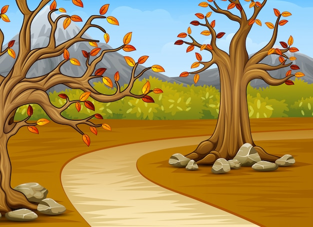 Cartoon of beautiful autumn tree with a mountain background