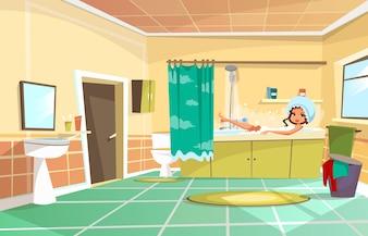 Cartoon beautiful girl having bath in bathtub.