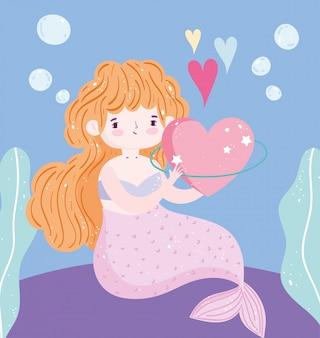 Cartoon beautiful little mermaid bubbles seaweed under the sea