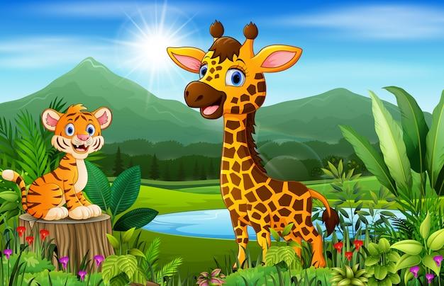 Cartoon beautiful nature with tiger and giraffe