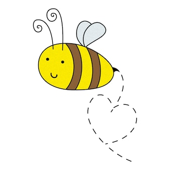 Cartoon beautiful smiling drawn flying bee with sting. vector illustrator