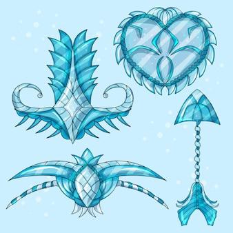 웹 게임 또는 디자인을 위한 만화 아름다운 겨울 유물