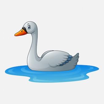 Мультяшный красавец-лебедь плывет по воде