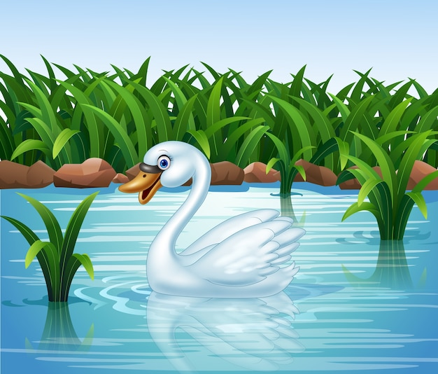 Cartoon beauty swan floats on river