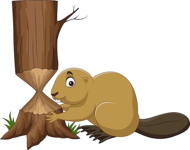 Cartoon beaver cutting tree isolated on white background