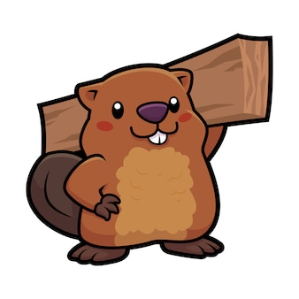 Cartoon beaver gardener mascot