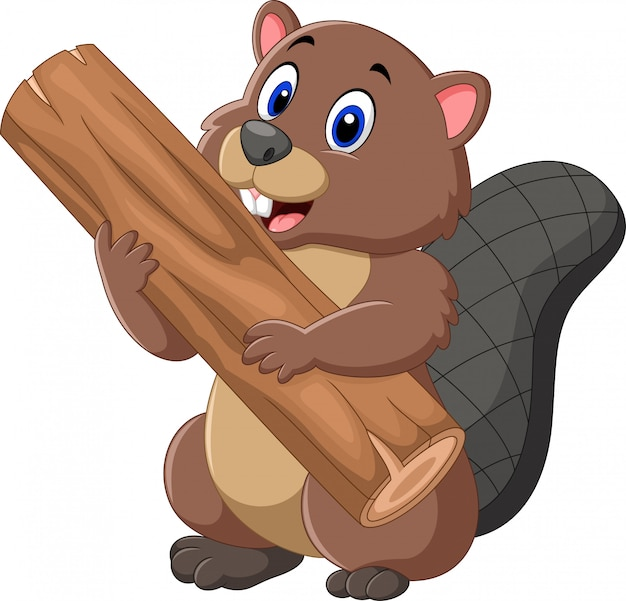 Cartoon beaver holding wood