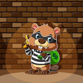 The cartoon  of beaver standing and holding a bag of money with the yellow gun