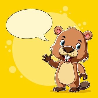 Cartoon beaver standing and talking with the blank bubble speech
