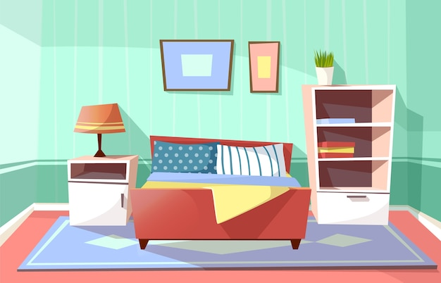 Cartoon bedroom interior background template. cozy modern house room concept.