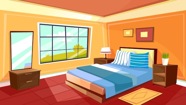 만화 침실 인테리어 배경 템플릿입니다. 아침 햇살에 아늑한 현대 집 방