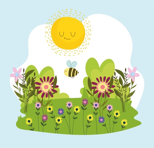 만화 꿀벌과 꽃
