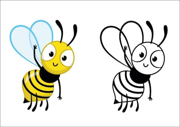 Cartoon bee character greets us vector coloring page for kids