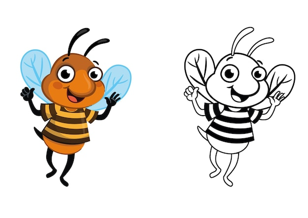 Cartoon bee character vector coloring page