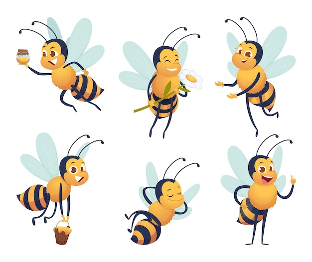 Cartoon bee. happy flying insect mascot bee nature honey delivers characters isolated