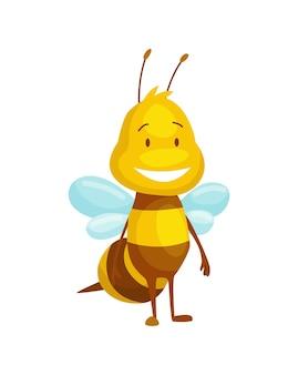 漫画の蜂の昆虫。幸せなハエのイラストのキャラクター。子供のためのかわいいハニーハーベスターのキャラクター。スマイリーアニマル。