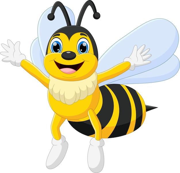白い背景に手を振って漫画の蜂