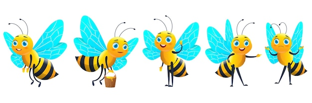 Cartoon bee with honey set, funny yellow bee