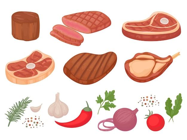 Cartoon beef steaks. grilled steak, beef meats and filet mignon.