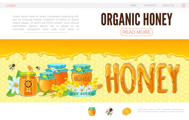 Cartoon beekeeping web page template with bees flowers pots of organic honey on honeycomb background