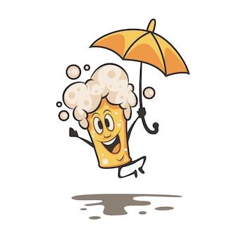 Cartoon beer illustration with an umbrella