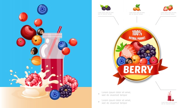 Cartoon berry smoothies composition with cherry blueberry cranberry currants raspberry blackberry milk splashes and natural product label