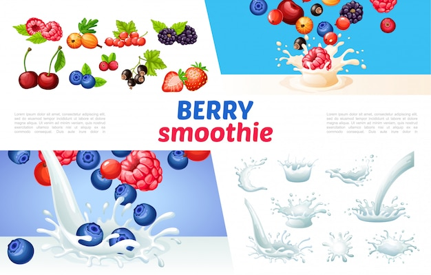 Cartoon berry smoothies composition with milk splashes and drops blueberry raspberry strawberry currants blackberry gooseberry cherry cranberry