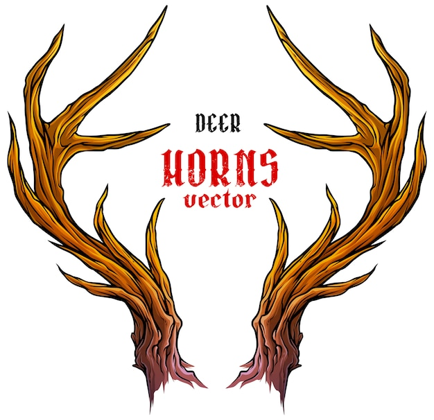 Cartoon big deer horns or antlers vector