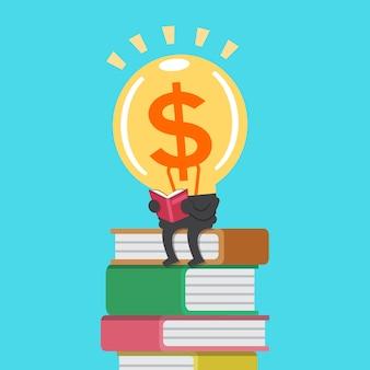 Cartoon big money idea character reading a book