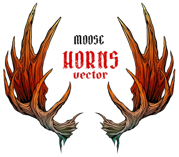 Cartoon big moose horns or antlers vector