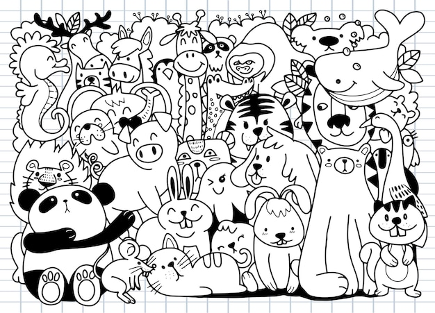 Cartoon big set of cute doodle animals. perfect for postcard  birthday  baby book  children room , illustration for coloring book ,each on a separate layer.