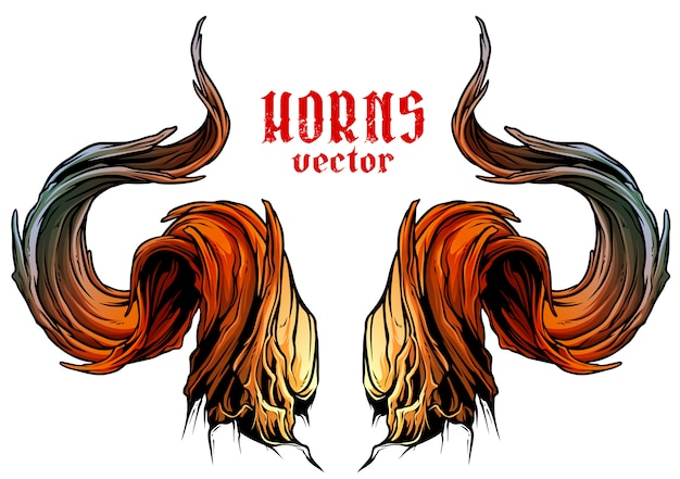 Cartoon big sharp bull horns vector