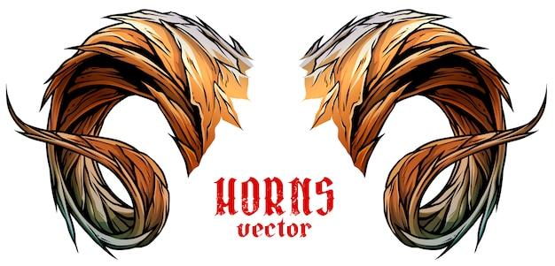 Cartoon big sharp ram or goat horns vector