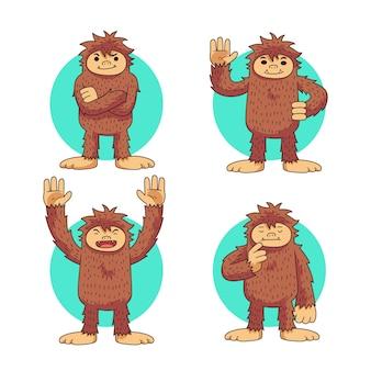 Коллекция персонажей мультфильма снежного человека сасквотч