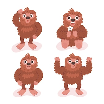 Cartoon bigfoot sasquatch character collection