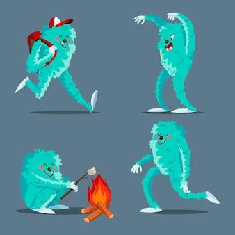 Набор персонажей мультяшного снежного человека сасквотч