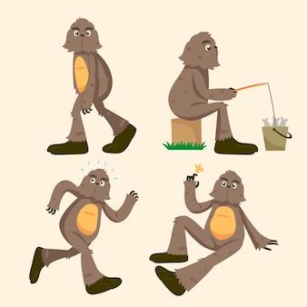 Pacchetto di personaggi sasquatch bigfoot dei cartoni animati
