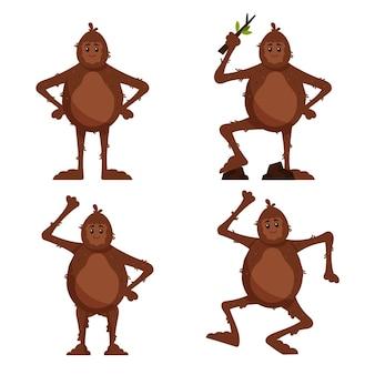 Cartoon bigfoot sasquatch character set