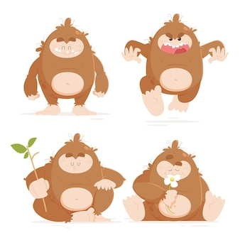 Cartoon bigfoot sasquatch character set