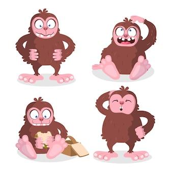 Set di caratteri sasquatch bigfoot del fumetto