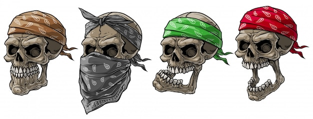 Мультяшный байкер черепа с банданой и шарфом