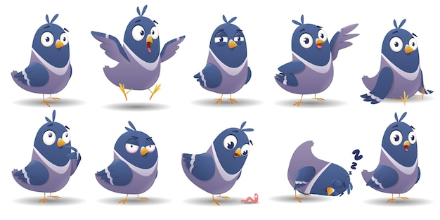 Cartoon bird character set