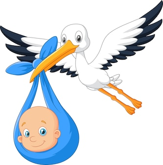 Cartoon bird stork with baby