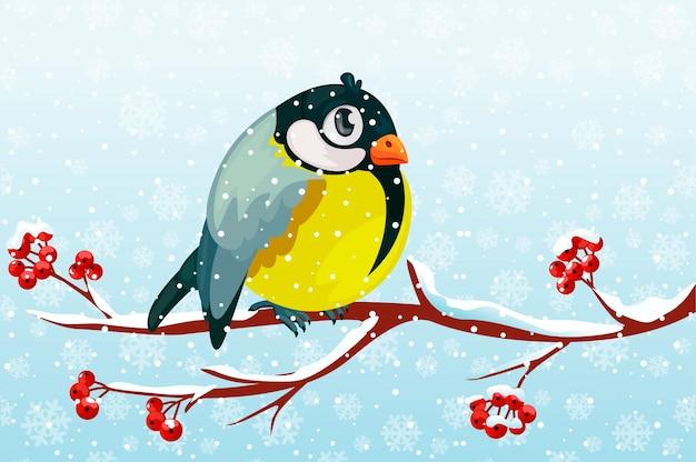 Cartoon bird tit on branch rowan tree under the snowfall.