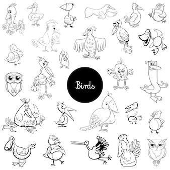 Cartoon birds animals set coloring book